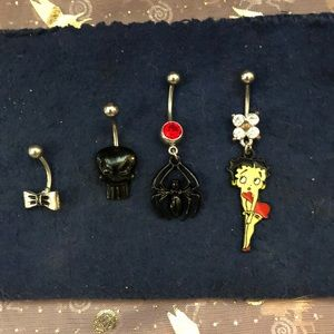 Lot of four belly button rings!